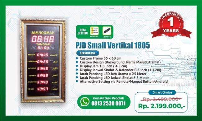 Pabrik Pembuat Timer Iqomah Harga Jam Adzan Digital