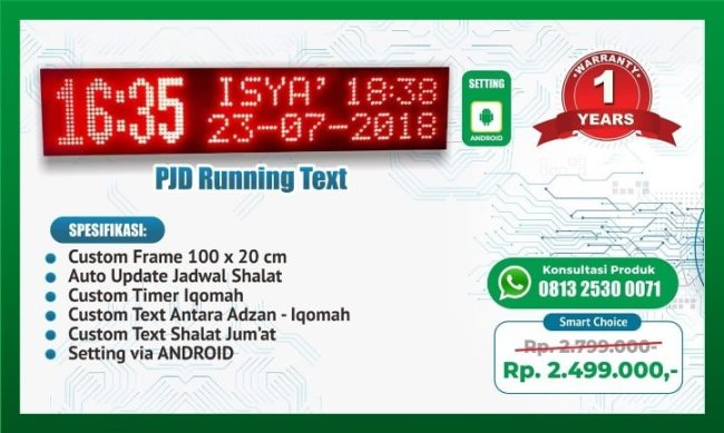 Pabrik Produsen Jam Dinding Alarm Adzan Jam Jadwal Sholat Digital Murah